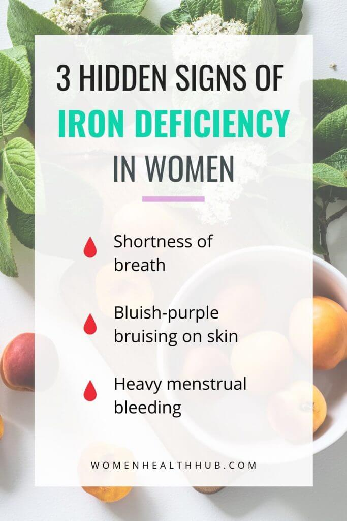 Infographic - 3 signs of iron deficiency in women that are often ignored.