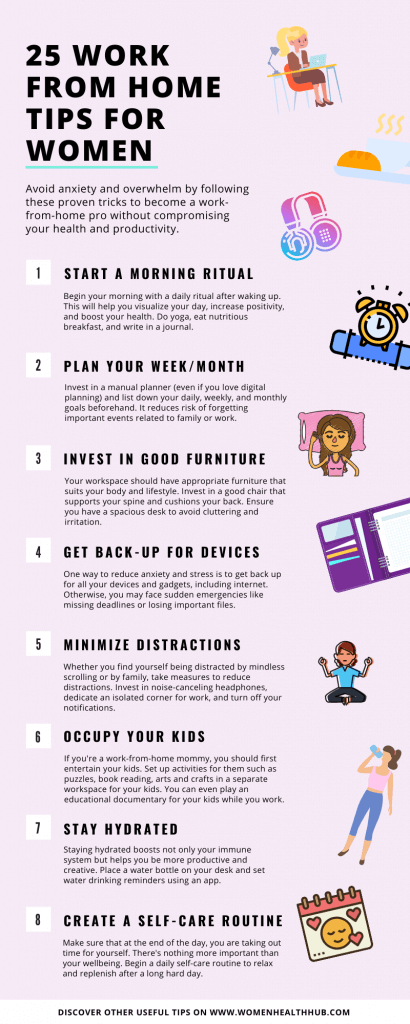 Infographic: 25 work-from-home tips for women to stay productive and healthy while working remotely.